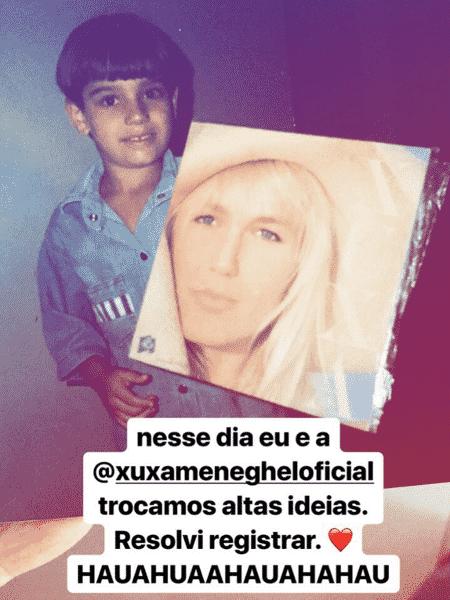Lucas Lucco mostra foto antiga segurando disco da Xuxa - Reprodução/Instagram - Reprodução/Instagram
