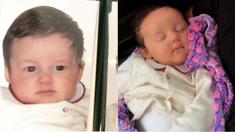 Bruno Gissoni em foto ainda bebê, ao lado de imagem da filha, Madalena - Reprodução/Instagram