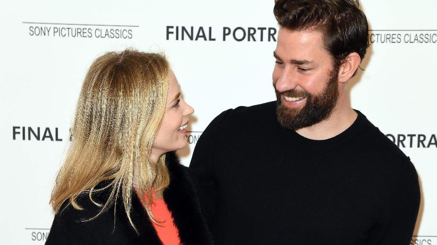 Emily Blunt e John Krasinski posam para fotos juntos em Nova York - Angela Weiss/AFP