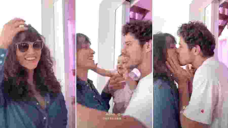 db95489ecf811 Débora Nascimento mostra reação de José Loreto e da filha ao novo visual