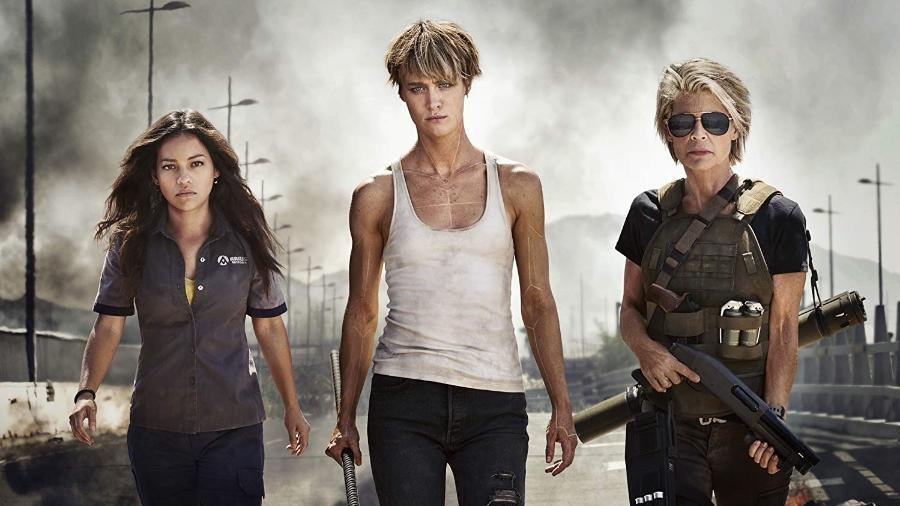 """Natalia Reyes, Mackenzie Davis e Linda Hamilton em cena do sexto """"O Exterminador do Futuro"""" - Divulgação"""
