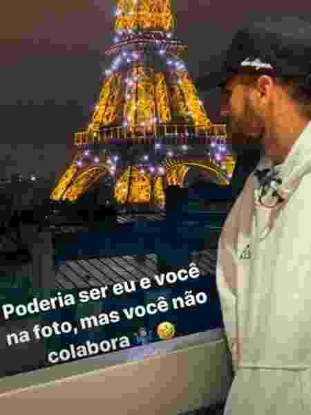 Neymar posa diante de vista da Torre Eiffel, em Paris, e deixa recado  - Reprodução/Instagram