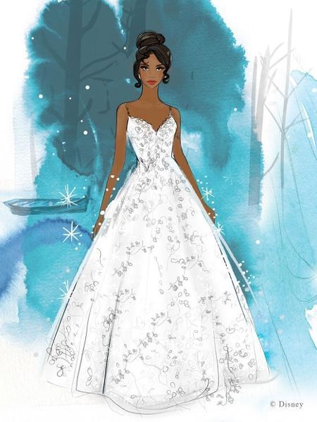Disney lança vestidos de noiva inspirados em princesas; na foto, modelo inspirado em Tiana - Reprodução/Allure Bridals