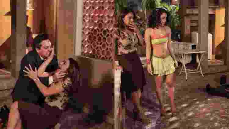 Cenas de Celeste (Dira Paes), com Baltazar (Alexandre Nero) e Solange (Carol Macedo), em 'Fina Estampa' - Reprodução/ Globo - Reprodução/ Globo