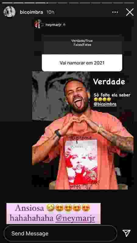 Bianca Coimbra responde 'pedido de namoro' de Neymar: 'Ansiosa' - Reprodução/Instagram - Reprodução/Instagram