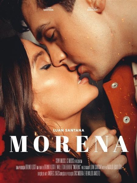 """Luan Santana e a modelo croata e americana Natália Barulich, em arte do clipe de """"Morena"""" - Reprodução/Instagram"""