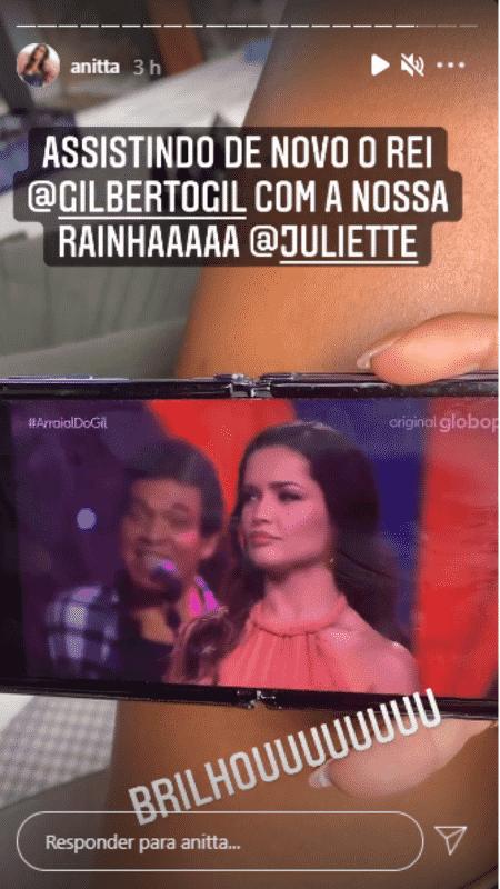 Story de Anitta - Reprodução/Instagram - Reprodução/Instagram