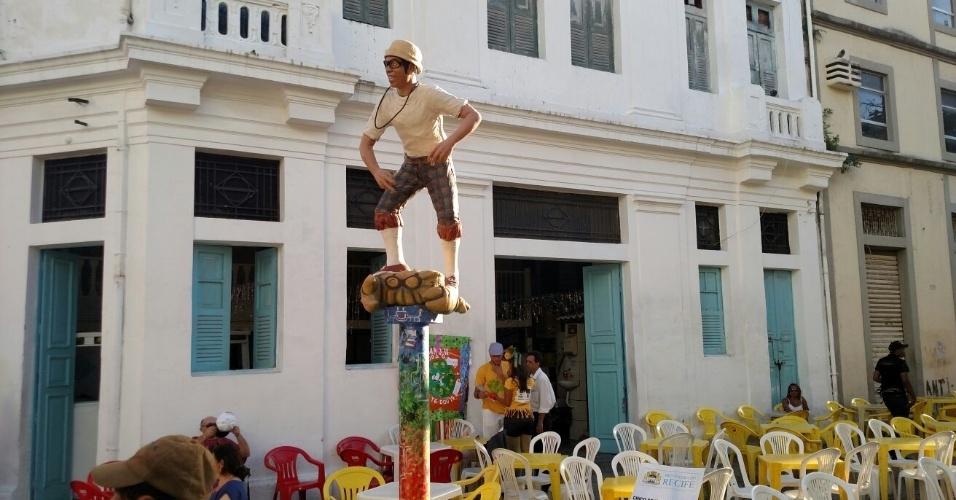 05.fev.2016 - Estátua de Chico Science na Rua da Moeda, em Recife (PE)