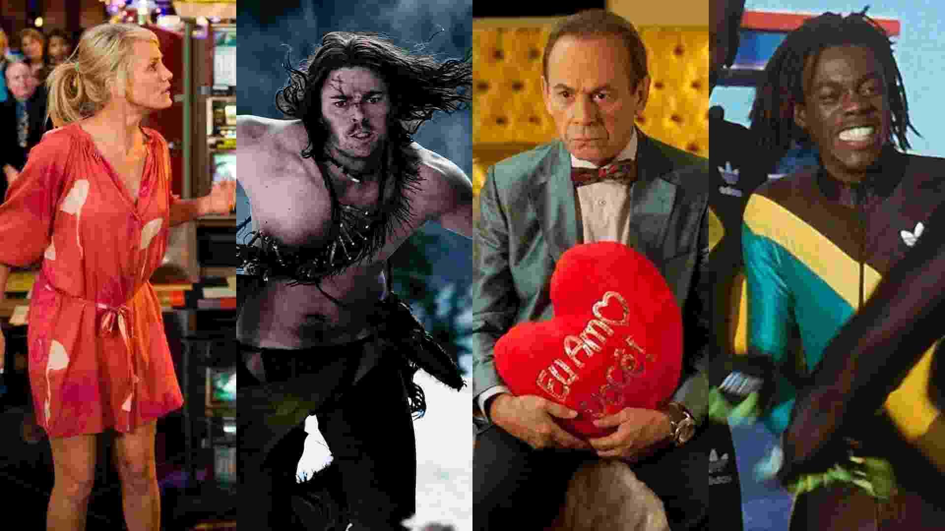 """Cenas dos filmes """"Jogo de Amor em Las Vegas"""" (2008), de Tom Vaughan, """"Desbravadores"""" (2007), de Marcus Nispel, """"Giovanni Improtta"""" (2013), de José Wilker e """"Jamaica Abaixo de Zero"""" (1993), de Jon Turteltaub - Reprodução/Montagem"""