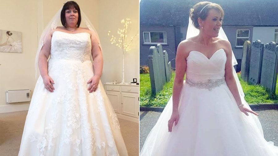 A inglesa Claire Davies emagreceu quase 70 kg em um ano, antes do seu casamento - Reprodução/Mirror