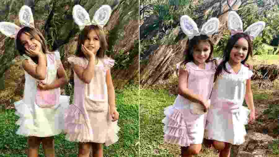 Vestidas de coelhinhas, Maya e Kiara, gêmeas de Natália Guimarães e Leandro Scornavacca, posam para fotos - Reprodução/Instagram