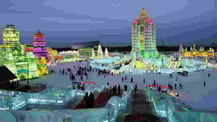 Festival de esculturas de gelo de Harbin - na China - uma das cidades mais frias do mundo - jacus/Getty Images