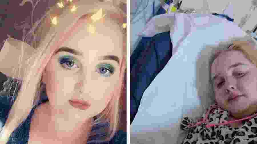 Hollie mostra uma foto sua com maquiagem e uma no hospital, durante o tratamento para endometriose - Hollie/BBC