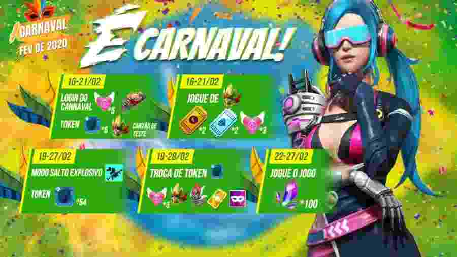Fique de olho no calendário: o evento de Carnaval em Free Fire vai até dia 28 de fevereiro - Reprodução