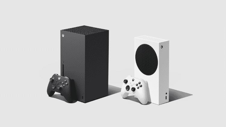 Xbox Series X (preto) e Xbox Series S (branco) - Divulgação/Microsoft - Divulgação/Microsoft