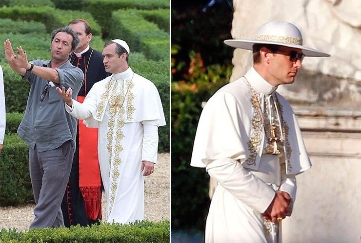 """7.ago.2015 -  Jude Law é dirigido pelo cineasta Paolo Sorrentino para gravar cenas de """"The Young Pope"""", nova série da HBO."""