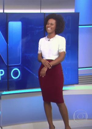 """A jornalista Maria Júlia Coutinho no """"JN"""" - Reprodução/TV Globo"""