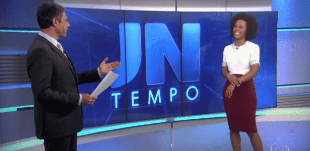 """28.jun.2016 - William Bonner chama Maju de """"Malu"""" e imita Cebolinha no """"JN"""" - Reprodução/TV Globo"""