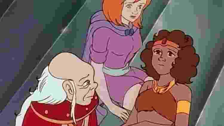 Diana, Sheila e Mestre dos Magos no episódio O Filho do Astrólogo em Caverna do Dragão - Reprodução - Reprodução