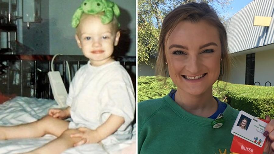 Montana aos 2 anos, durante o tratamento, e aos 24 - Reprodução/Facebook