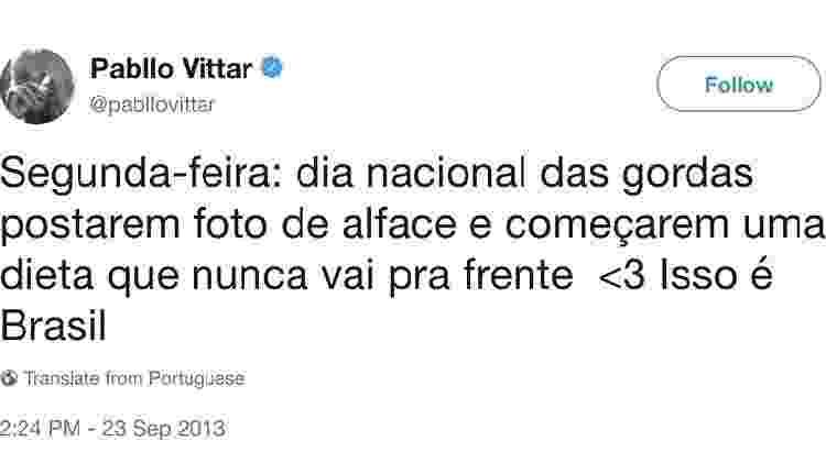 Tweet de 2013 de Pabllo Vittar sobre gordas foi recuperado por seguidores - Reprodução/Twitter - Reprodução/Twitter