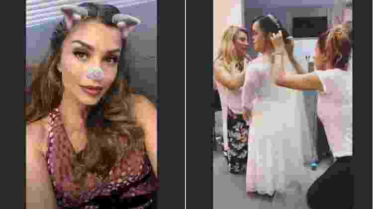 Grazi Massafera mostra parte de seu look e Juliana Caldas vestida de noiva - Reprodução/Instagram - Reprodução/Instagram