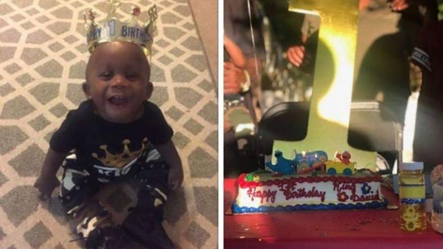O menino David, filho de Kesha Campbell, e o bolo de aniversário que ganhou de Vanessa Philips - KESHA CAMPBELL