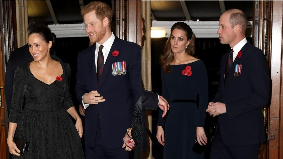 Os duques de Sussex, Harry e Meghan, e os duques de Cambridge, William e Kate - Getty Images
