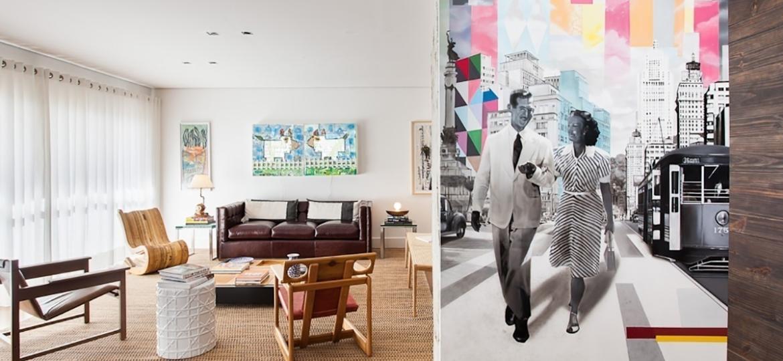 A foto antiga recebeu uma interferência de Kobra e se transformou em mural que cobre o pilar - Ricardo Bassetti/Divulgação