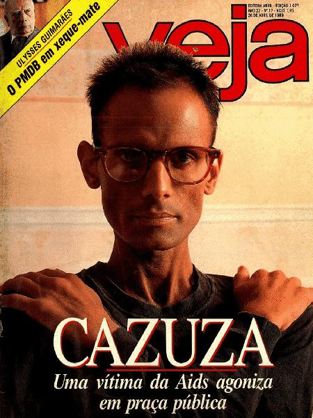 Cazuza em foto de 1989: a capa foi polêmica, mas ninguém esquece - Reprodução/ Revista Veja - Reprodução/ Revista Veja