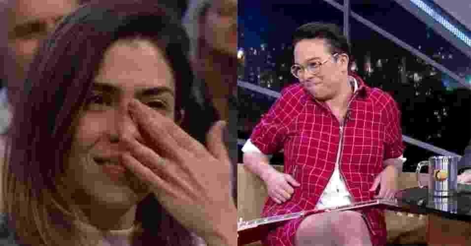 """14.jul.2016 - Na plateia do """"Programa do Jô"""", Lua Leça, mulher de Maria Gadú, se emociona ao ouvir declaração da cantora - Reprodução /TV Globo"""
