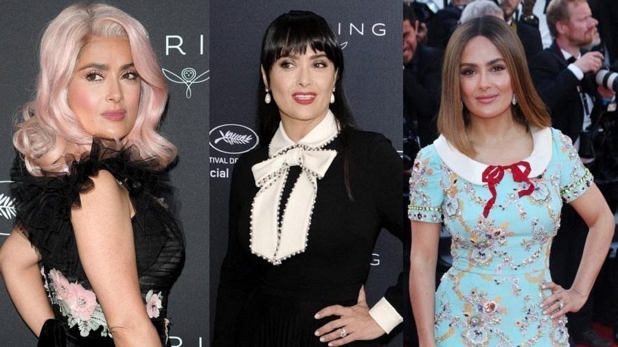 A atriz Salma Hayek, que usou três cores de cabelo em Cannes - Zumapress/Getty Images/Montagem