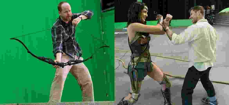 Joss Whedon (esq.) e Zack Snyder com Gal Gadot - Divulgação