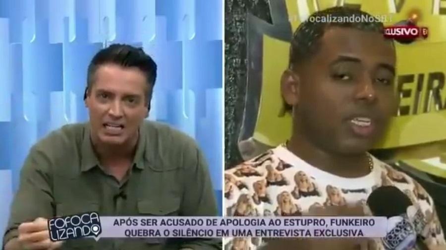 """Leo Dias criticou seu próprio programa, """"Fofocalizando"""", por dar voz a MC Diguinho, da música """"Só Surubinha de Leve"""" - Reprodução/SBT"""