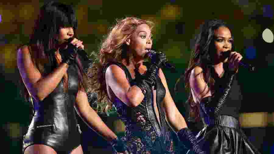 """Kelly Rowland, Beyonce Knowles e Michelle Williams reuniram o Destiny""""s Child em 2013 para uma performance no intervalo do Super Bowl - Christopher Polk/Getty Images"""
