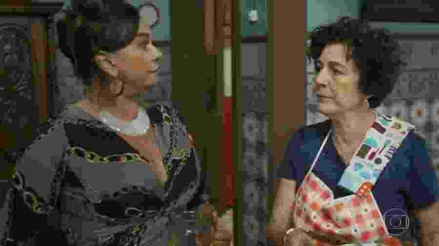 """Coronela e Januza se encaram em """"O Tempo Não Para"""", novela das sete da Globo - Reprodução/TV Globo"""