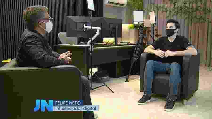 """Felipe Neto dá entrevista ao repórter Helter Duarte no """"Jornal Nacional"""" - Reprodução/TV Globo"""