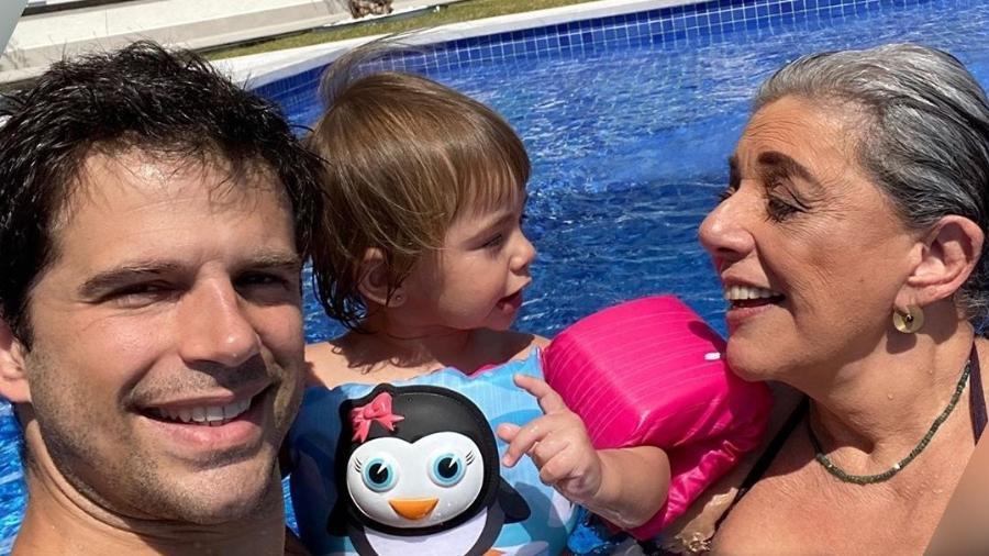 Duda Nagle, Zoe e Leda Nagle curtindo piscina - Reprodução/Instagram