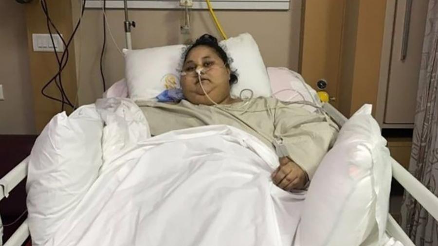 Eman Ahmed Abd El Aty, que chegou a pesar 500 quilos, recupera-se de cirurgia bariátrica em hospital na Índia - Saifee Hospital