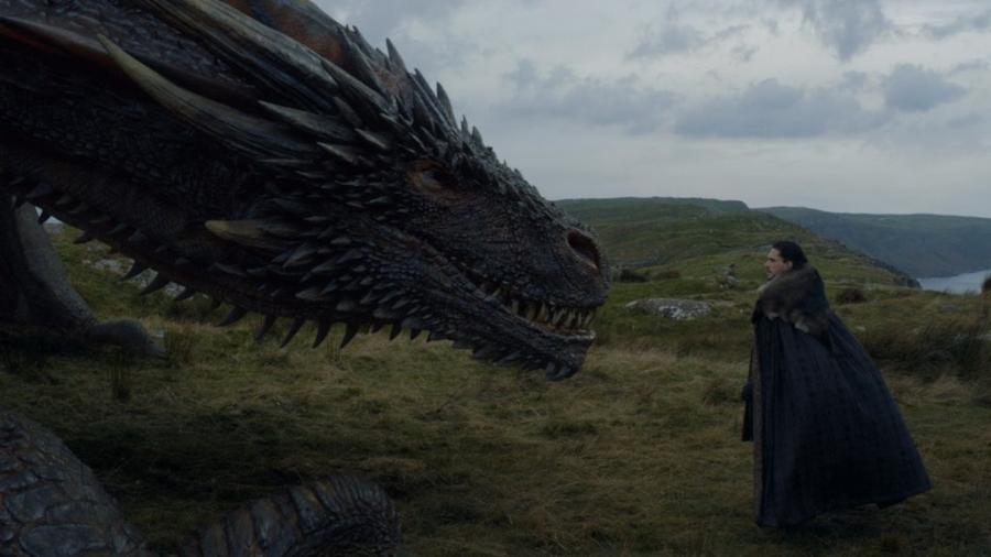 """Jon Snow e Drogon em """"Game of Thrones"""" - Reprodução"""