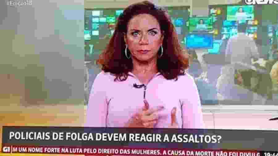 Apresentadora da Globo News faz desabafo após enquete sobre PMs que reagem a assaltos - Reprodução/Globo News