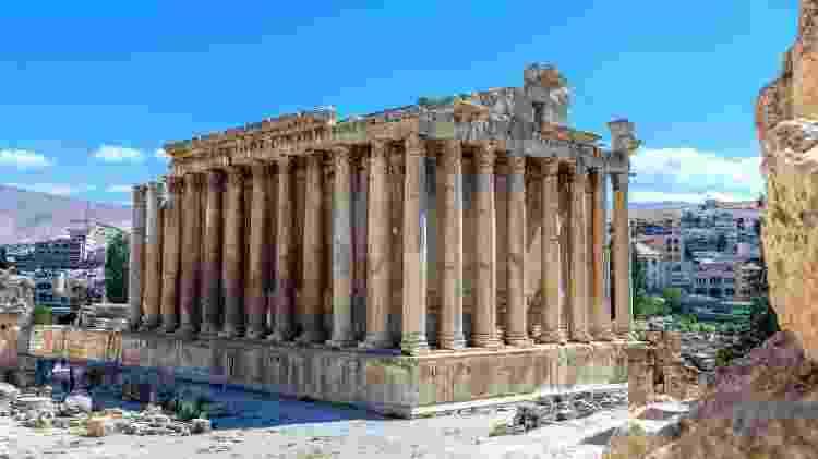 Templo de Baco, no sítio arqueológico de Baalbek, no Líbano - Getty Images/iStockphoto - Getty Images/iStockphoto