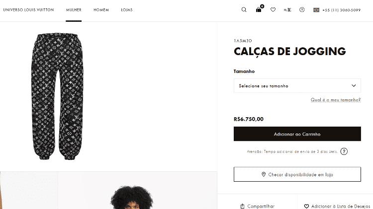 Calça Louis Vuitton usada por Anitta custa R$ 6.750 no site da grife - Reprodução/site Louis Vuitton