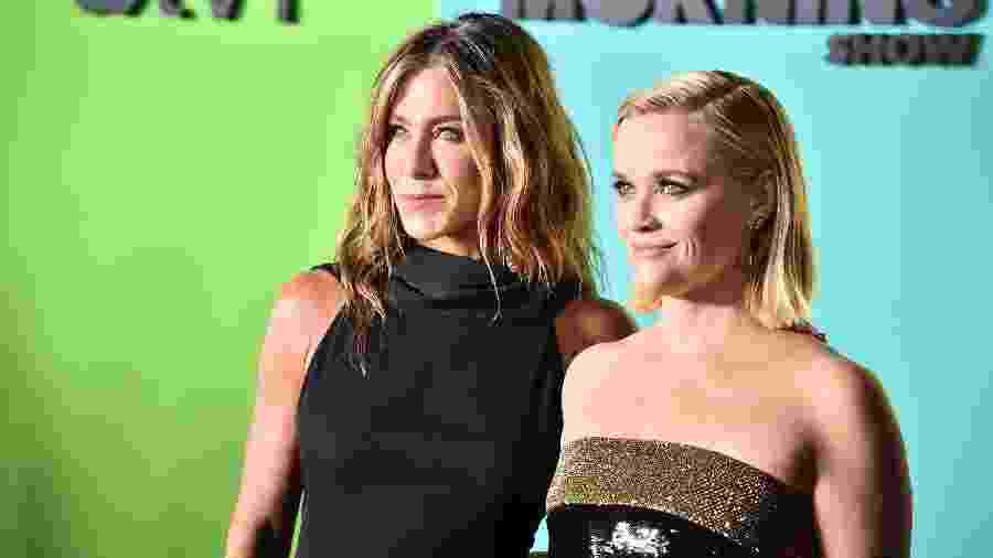 Jennifer Aniston e Reese Witherspoon em evento em Nova York - Getty Images