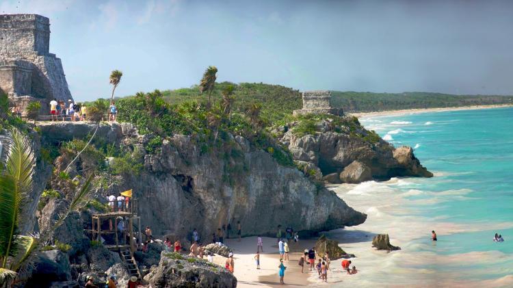 Tulum, no México, tem um sítio arqueológico maias em frente a uma praia paradisíaca - Divulgação - Divulgação
