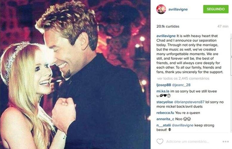 2.set.2015 - Avril Lavigne anuncia fim do casamento com Chad Kroeger por meio de um post no Instagram