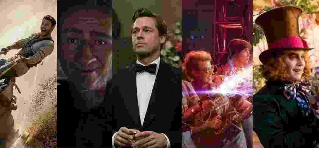 """Filmes """"Ben-Hur"""", """"O Bom Gigante Amigo"""", """"Aliados"""", """"Caça-Fantasmas"""" e """"Alice Através do Espelho"""" - Reprodução/Montagem"""