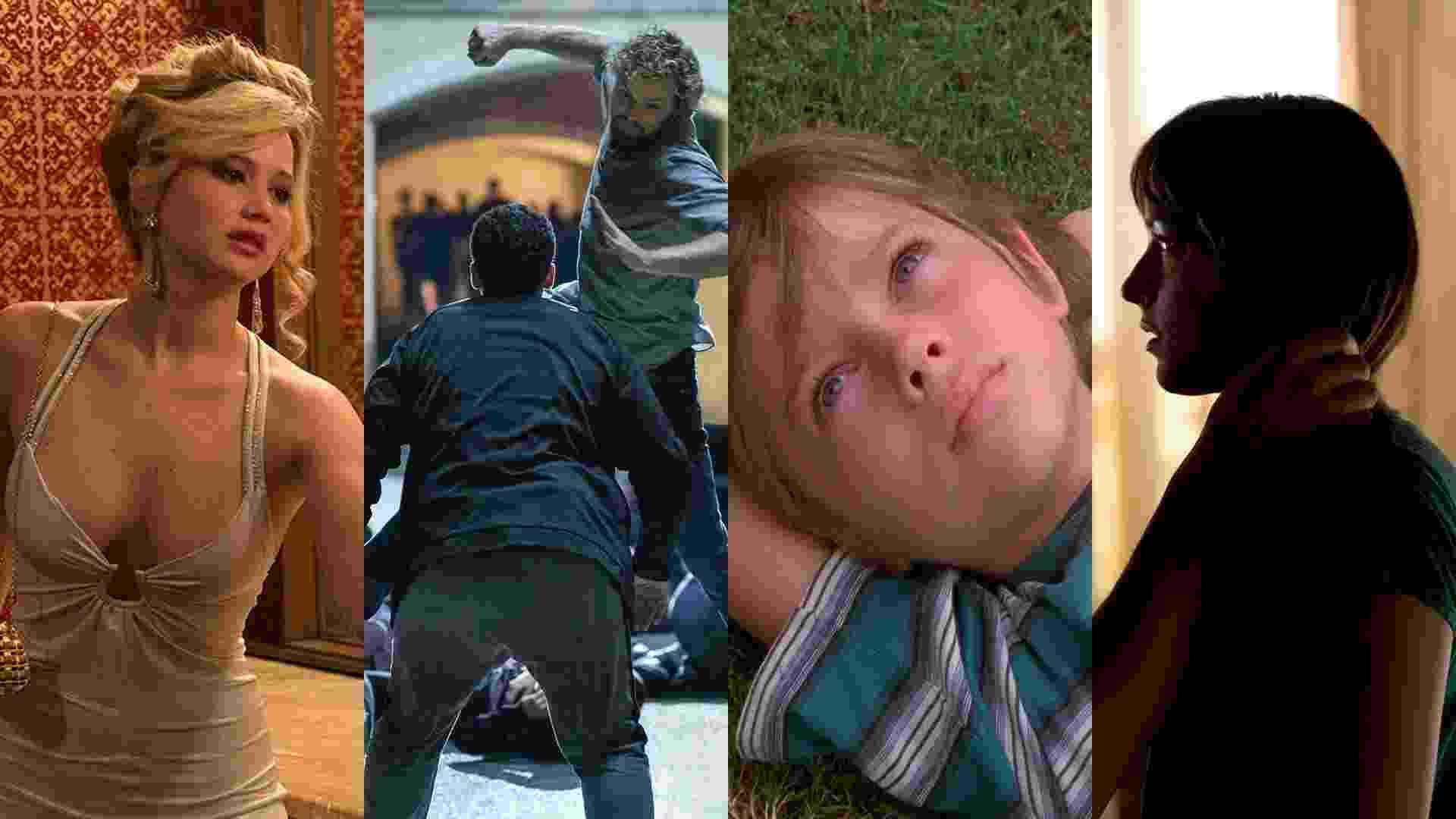 """Cenas de """"Trapaça"""" (2013), de David O. Russell, """"Punho de Ferro"""", """"Boyhood: Da Infância à Juventude"""" (2014), de Richard Linklater e """"Cinquenta Tons de Cinza"""" (2015), de Sam Taylor-Johnson - Reprodução/Montagem"""