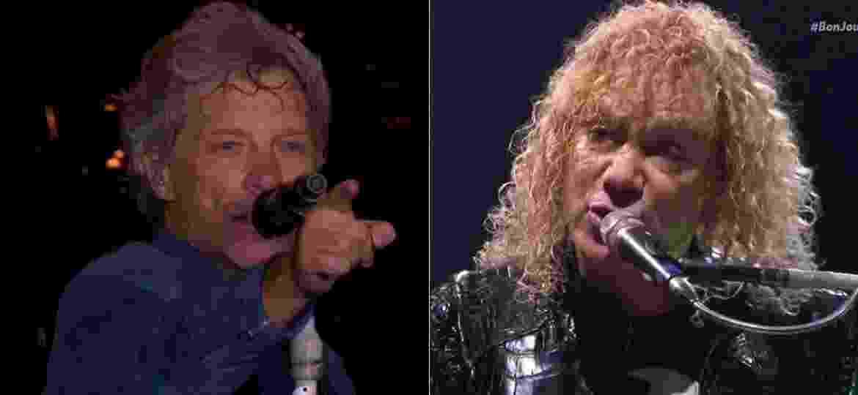 O vocalista Jon Bon Jovi e o tecladista David Bryan viraram memes durante a transmissão do show do Bon Jovi no Rock in Rio 2017 - Montagem/Reprodução/Multishow