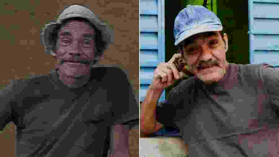 """Geraldo Carrato interpretou Soneca, personagem baseado em Seu Madruga (Ramón Valdés) no curta-metragem """"Moleque"""", versão brasileira de """"Chaves"""" - Montagem/UOL"""